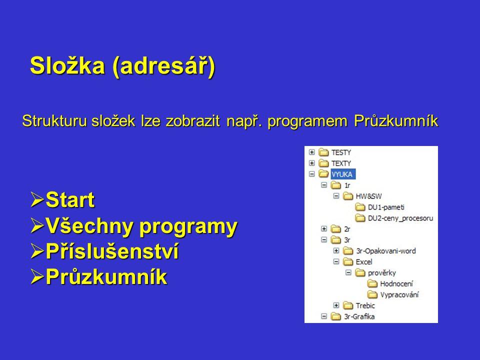 Strukturu složek lze zobrazit např. programem Průzkumník Složka (adresář)  Start  Všechny programy  Příslušenství  Průzkumník