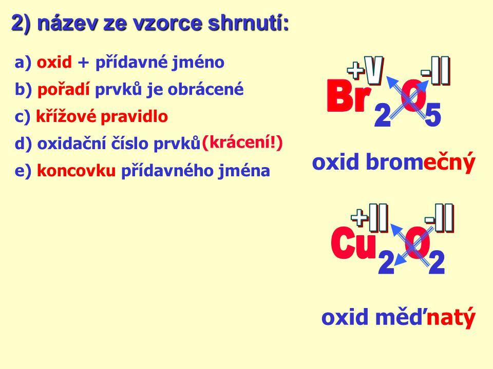 2) název ze vzorce: oxid hlin itý oxid hliník + ?