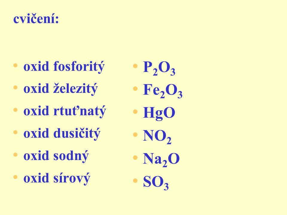 2) název ze vzorce shrnutí: b) pořadí prvků je obrácené e) koncovku přídavného jména d) oxidační číslo prvků c) křížové pravidlo a) oxid + přídavné jméno oxid bromečný oxid měď natý (krácení!)