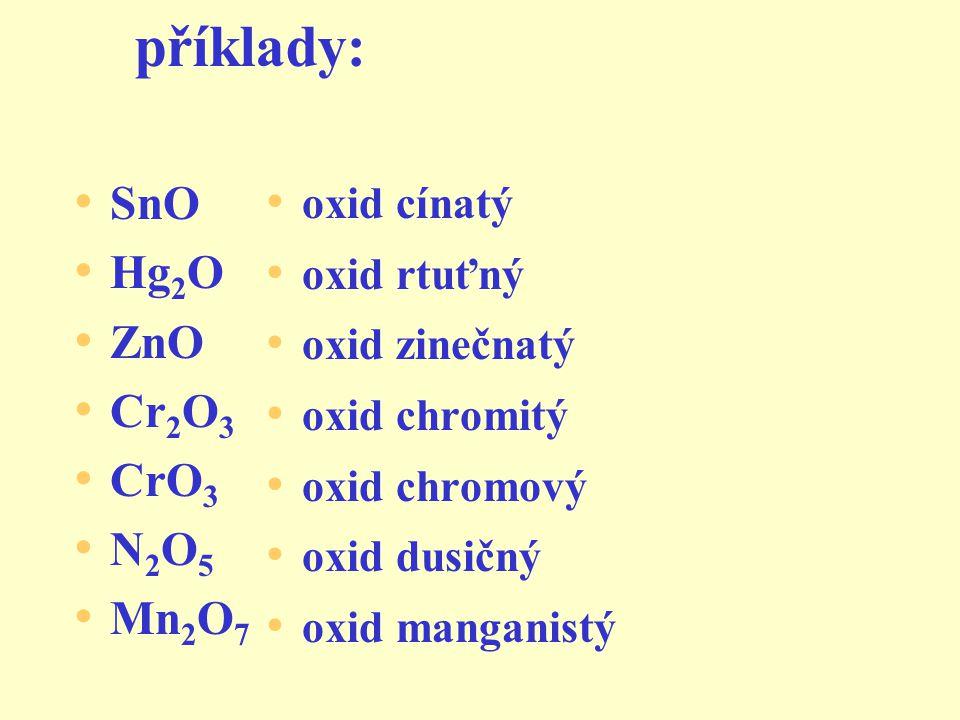 příklady: TiO 2 MgO WO 3 SO 2 OsO 4 Cu 2 O oxid titaničitý oxid hořečnatý oxid wolframový oxid siřičitý oxid osmičelý oxid měďný