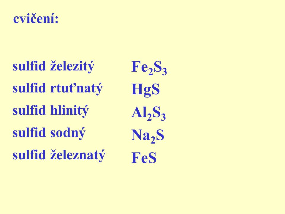 2) název ze vzorce shrnutí b) pořadí prvků je obrácené e) koncovku přídavného jména d) oxidační číslo prvků (krácení!) c) křížové pravidlo a) SULFID +