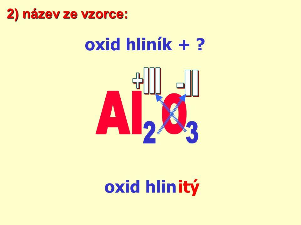 """1) vzorec z názvu shrnutí: a) pořadí prvků ve vzorci (obr!) c) koncovku přídavného jména d) oxidační číslo prvku e) křížové pravidlo f) případné """"krác"""