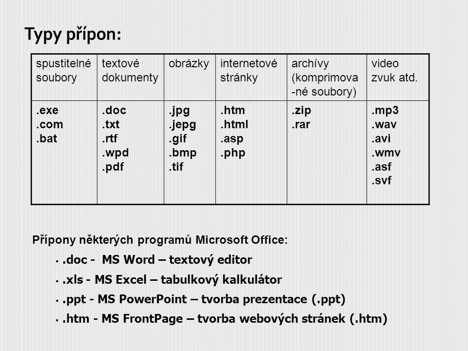 spustitelné soubory textové dokumenty obrázkyinternetové stránky archívy (komprimova -né soubory) video zvuk atd..exe.com.bat.doc.txt.rtf.wpd.pdf.jpg.jepg.gif.bmp.tif.htm.html.asp.php.zip.rar.mp3.wav.avi.wmv.asf.svf Přípony některých programů Microsoft Office: .doc - MS Word – textový editor .xls - MS Excel – tabulkový kalkulátor .ppt - MS PowerPoint – tvorba prezentace (.ppt) .htm - MS FrontPage – tvorba webových stránek (.htm)