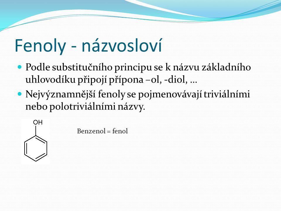Fenoly - názvosloví Benzen-1,2-diol = pyrokatechol Benzen-1,3-diol = resorcinol Benzen-1,2,3-triol = pyrogallol 3-methylfenol = m-kresol 2-naftol9-anthrol