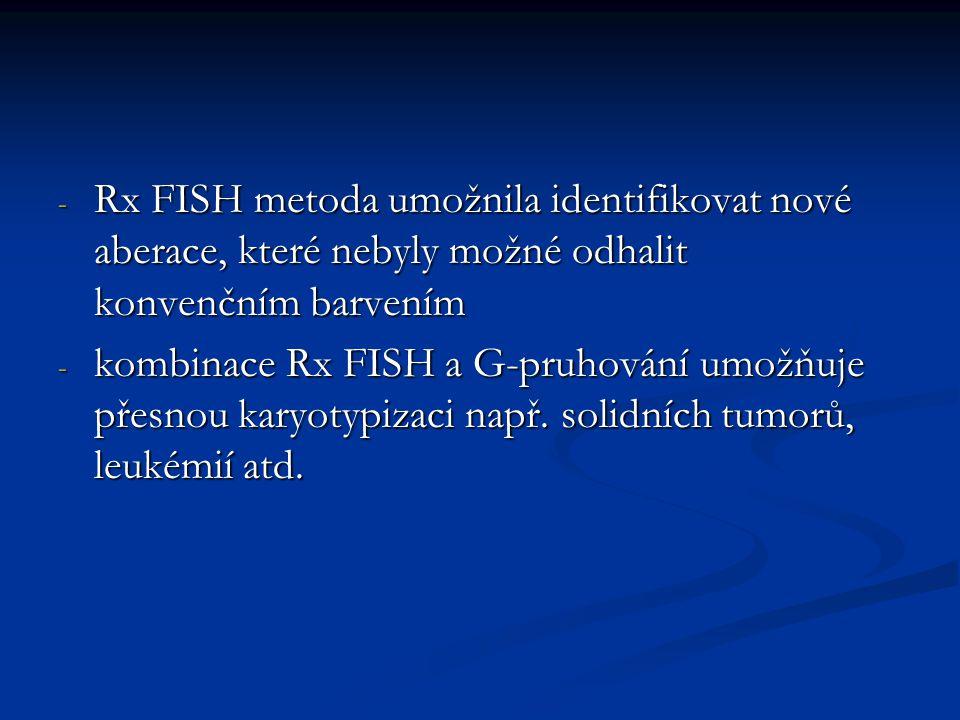 - Rx FISH metoda umožnila identifikovat nové aberace, které nebyly možné odhalit konvenčním barvením - kombinace Rx FISH a G-pruhování umožňuje přesno