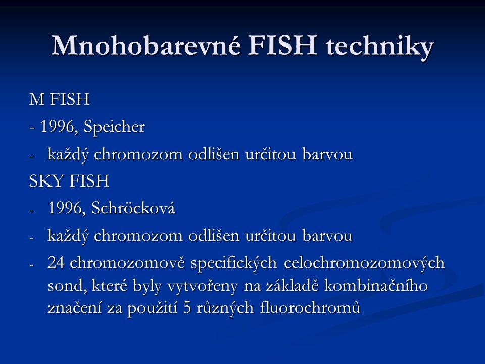 Mnohobarevné FISH techniky M FISH - 1996, Speicher - každý chromozom odlišen určitou barvou SKY FISH - 1996, Schröcková - každý chromozom odlišen urči