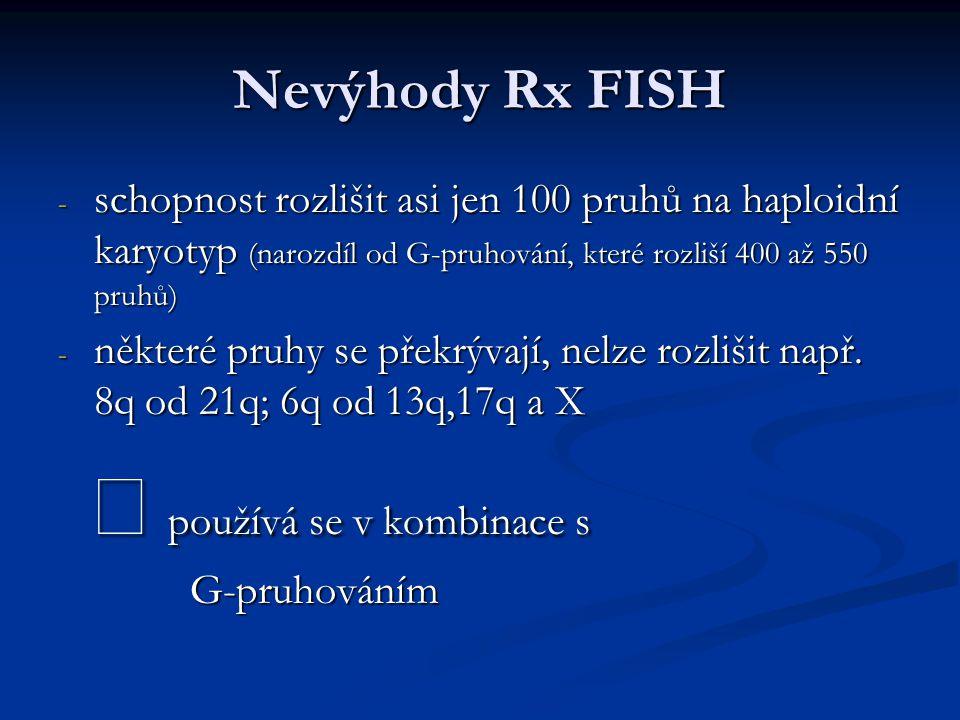 Nevýhody Rx FISH - schopnost rozlišit asi jen 100 pruhů na haploidní karyotyp (narozdíl od G-pruhování, které rozliší 400 až 550 pruhů) - některé pruh