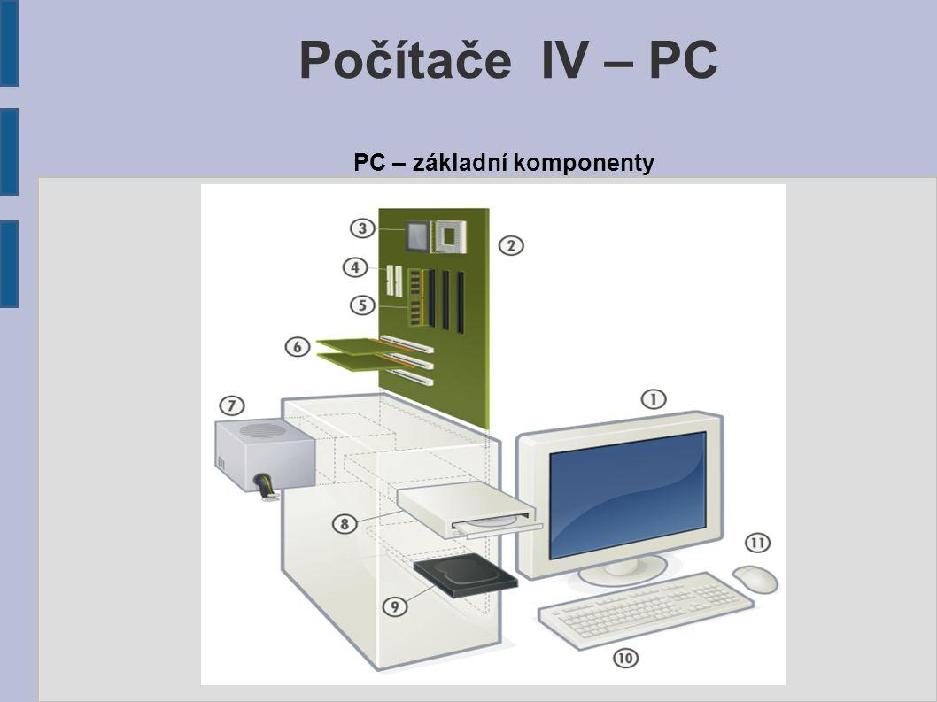 Počítače IV – PC PC – základní komponenty Komponenty osobního počítače: 1.Monitor 2.Základní deska 3.Procesor 4.ATA konektory 5.Operační paměť 6.Rozšiřující karty (zvukovka, síťovka) 7.Zdroj 8.Optické mechaniky 9.Pevný disk 10.Počítačová klávesnice 11.Myš