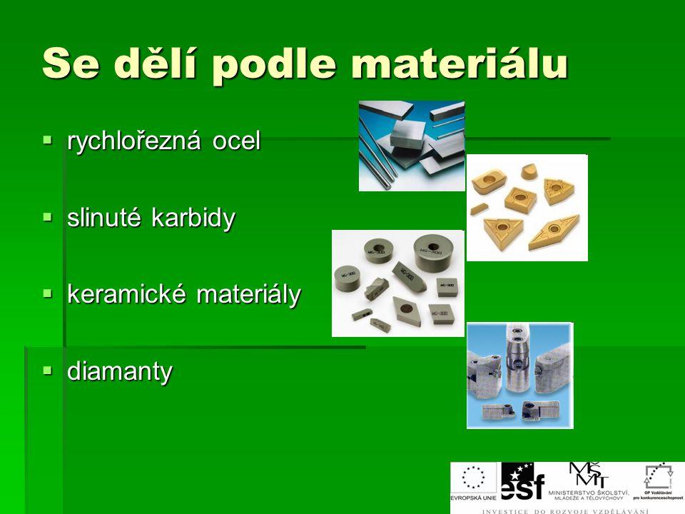 Se dělí podle materiálu  rychlořezná ocel  slinuté karbidy  keramické materiály  diamanty