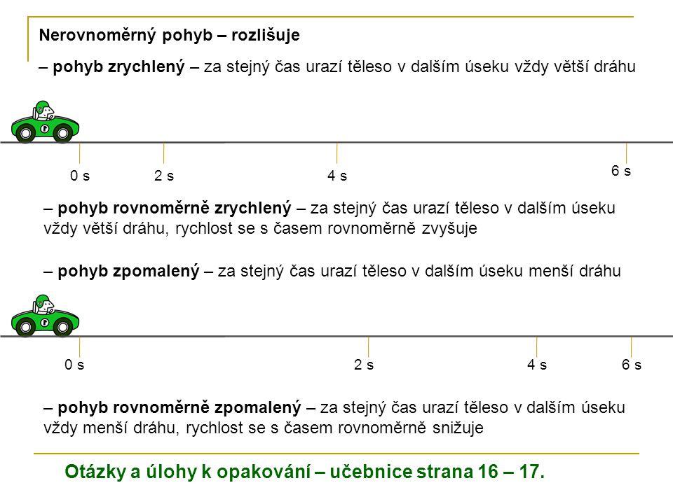 Otázky a úlohy k opakování – učebnice strana 16 – 17. Nerovnoměrný pohyb – rozlišuje – pohyb zrychlený – za stejný čas urazí těleso v dalším úseku vžd