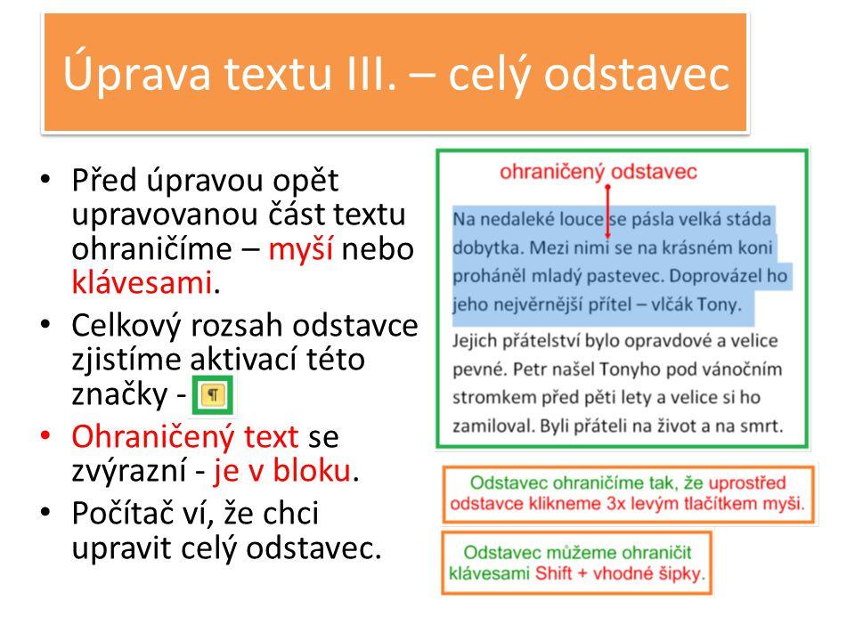 Úprava textu III.
