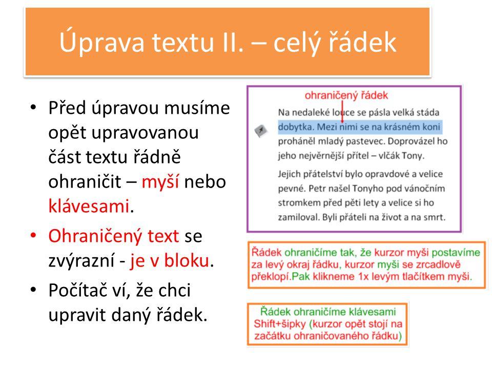 Úprava textu II.