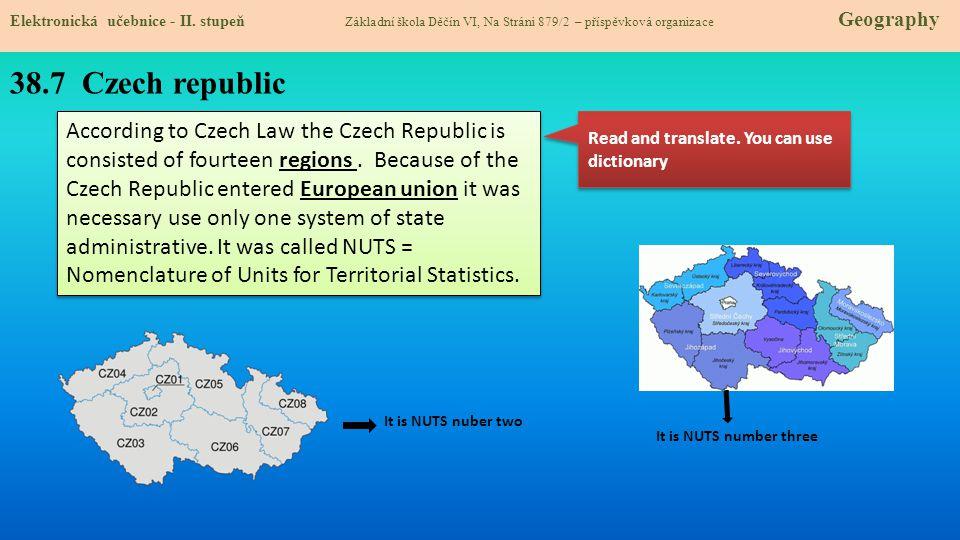 38.7 Czech republic Elektronická učebnice - II. stupeň Základní škola Děčín VI, Na Stráni 879/2 – příspěvková organizace Geography According to Czech