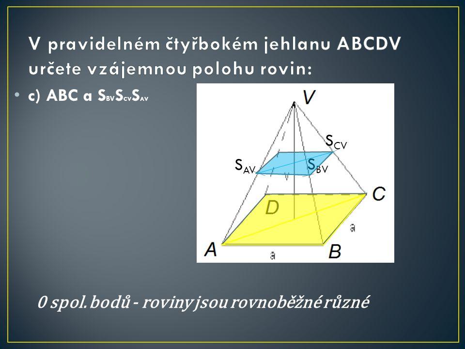 c) ABC a S BV S CV S AV S AV S BV S CV 0 spol. bodů - roviny jsou rovnoběžné různé