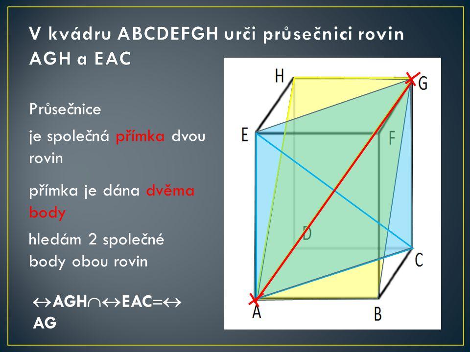 Průsečnice je společná přímka dvou rovin přímka je dána dvěma body hledám 2 společné body obou rovin  AGH  EAC  AG