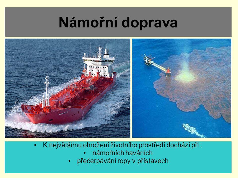 Námořní doprava K největšímu ohrožení životního prostředí dochází při : námořních haváriích přečerpávání ropy v přístavech