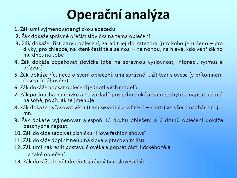 Operační analýza 1. Žák umí vyjmenovat anglickou abecedu 2. Žák dokáže správně přečíst slovíčka na téma oblečení 3. Žák dokáže říct barvu oblečení, za