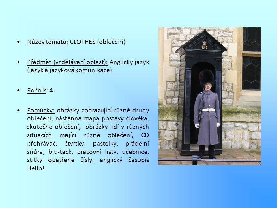 Název tématu: CLOTHES (oblečení) Předmět (vzdělávací oblast): Anglický jazyk (jazyk a jazyková komunikace) Ročník: 4. Pomůcky: obrázky zobrazující růz