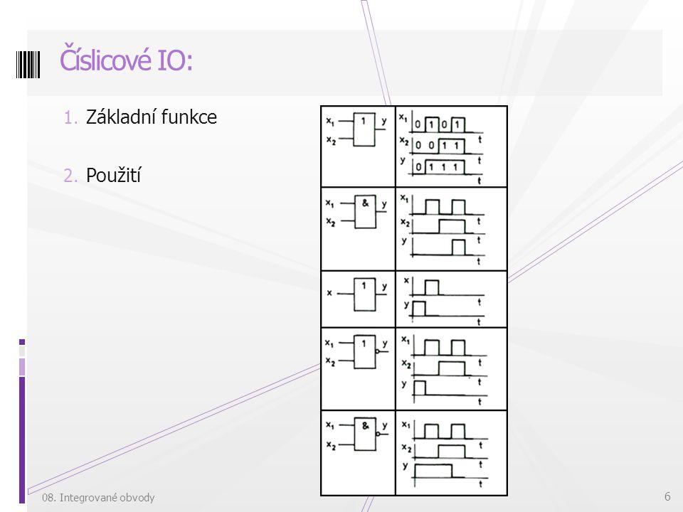 1. Základní funkce 2. Použití Číslicové IO: 08. Integrované obvody 6