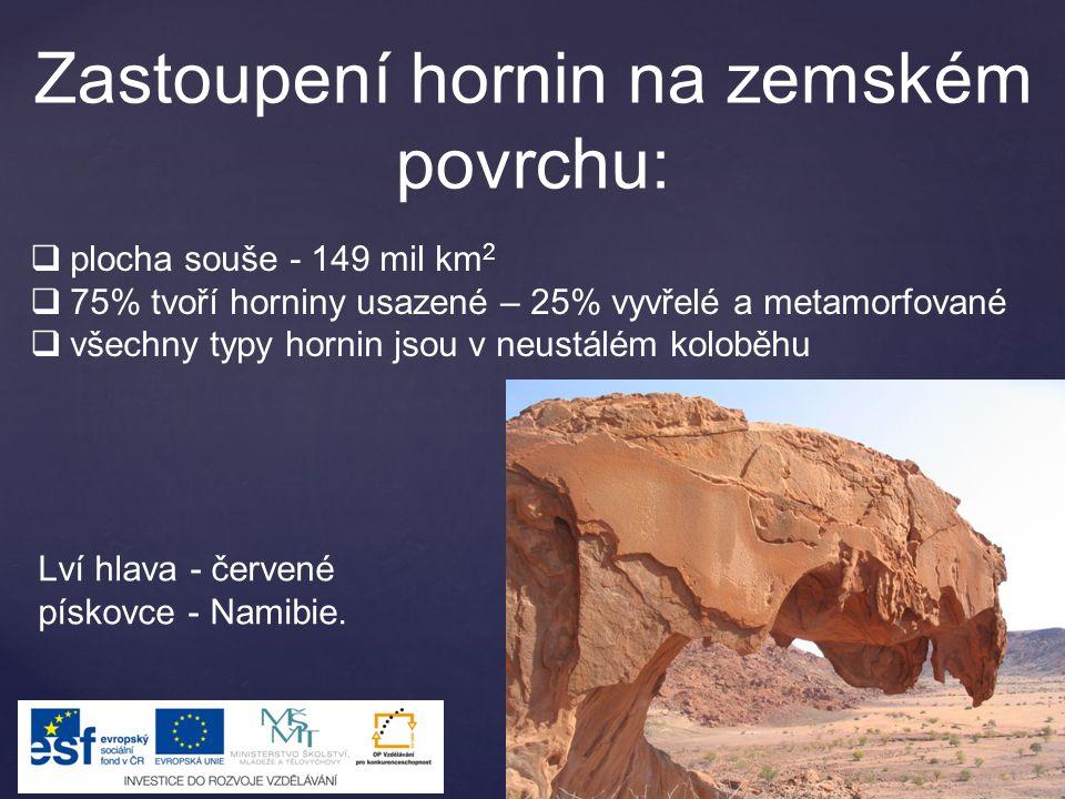 Zastoupení hornin na zemském povrchu:  plocha souše - 149 mil km 2  75% tvoří horniny usazené – 25% vyvřelé a metamorfované  všechny typy hornin jsou v neustálém koloběhu Lví hlava - červené pískovce - Namibie.