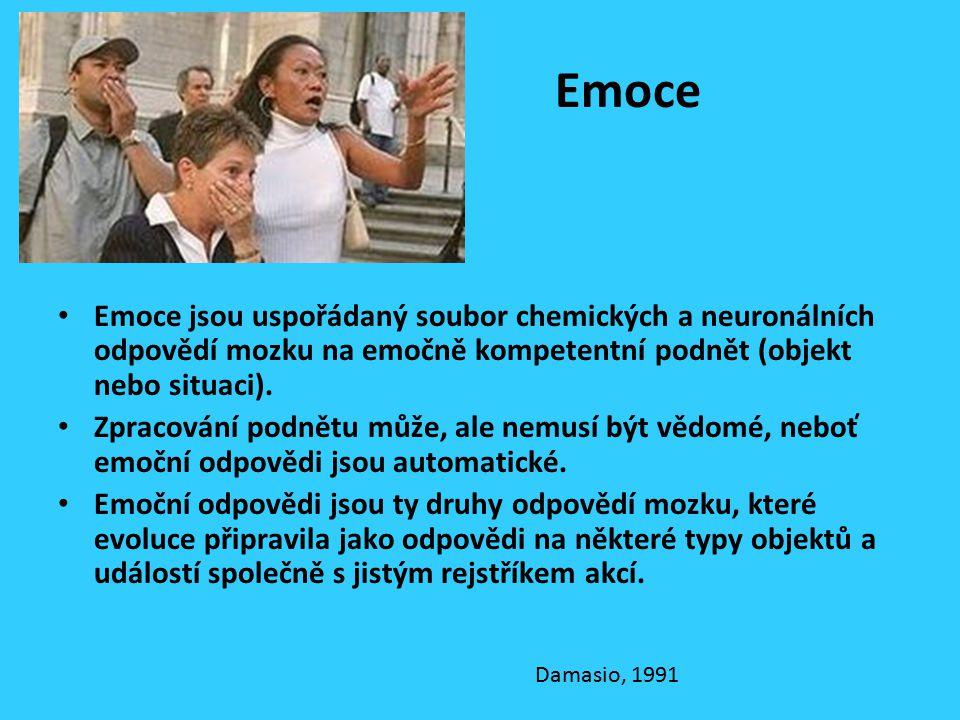 Emoce Emoce jsou uspořádaný soubor chemických a neuronálních odpovědí mozku na emočně kompetentní podnět (objekt nebo situaci). Zpracování podnětu můž
