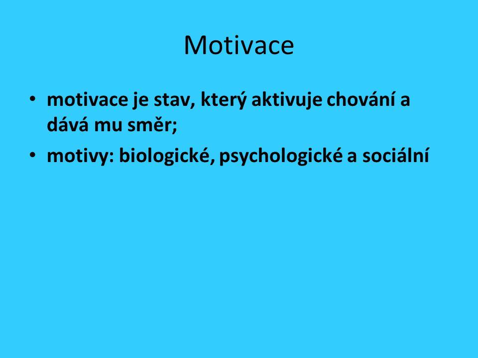 Motivace motivace je stav, který aktivuje chování a dává mu směr; motivy: biologické, psychologické a sociální