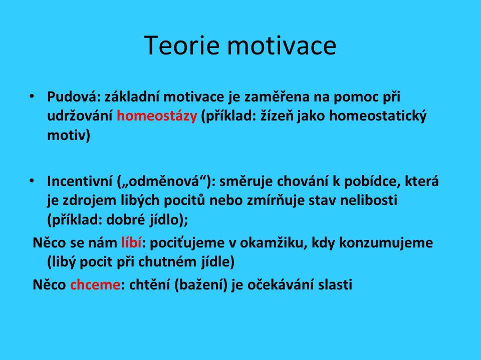 """Teorie motivace Pudová: základní motivace je zaměřena na pomoc při udržování homeostázy (příklad: žízeň jako homeostatický motiv) Incentivní (""""odměnová ): směruje chování k pobídce, která je zdrojem libých pocitů nebo zmírňuje stav nelibosti (příklad: dobré jídlo); Něco se nám líbí: pociťujeme v okamžiku, kdy konzumujeme (libý pocit při chutném jídle) Něco chceme: chtění (bažení) je očekávání slasti"""