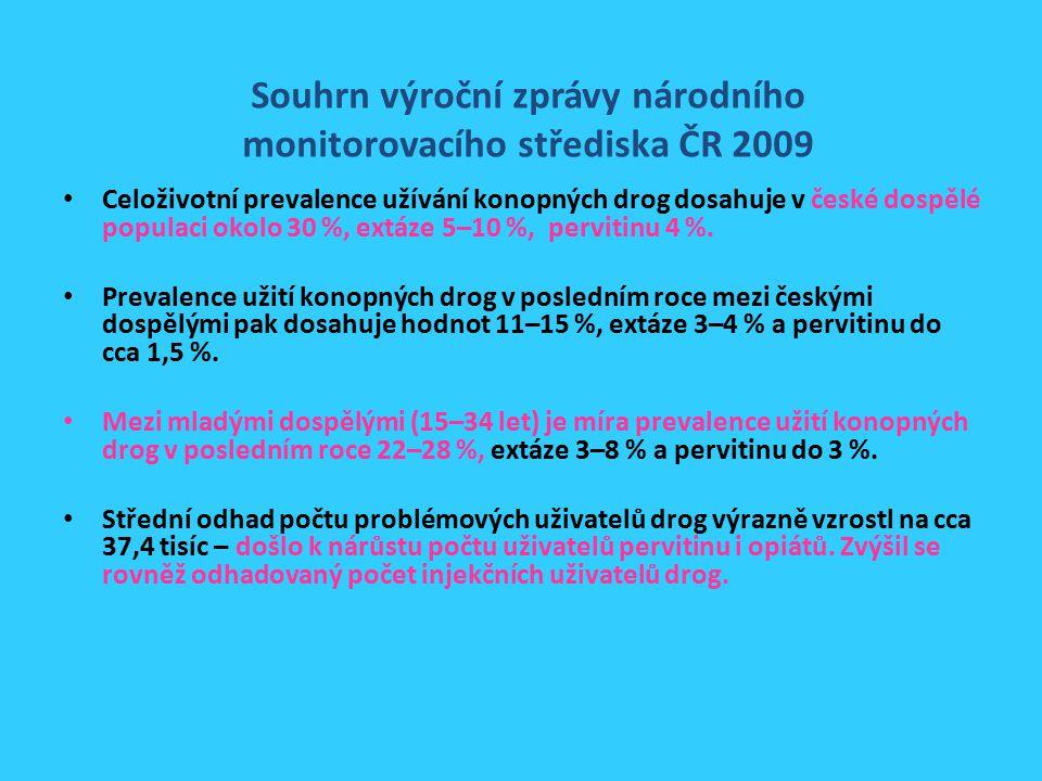 Celoživotní prevalence užívání konopných drog dosahuje v české dospělé populaci okolo 30 %, extáze 5–10 %, pervitinu 4 %.