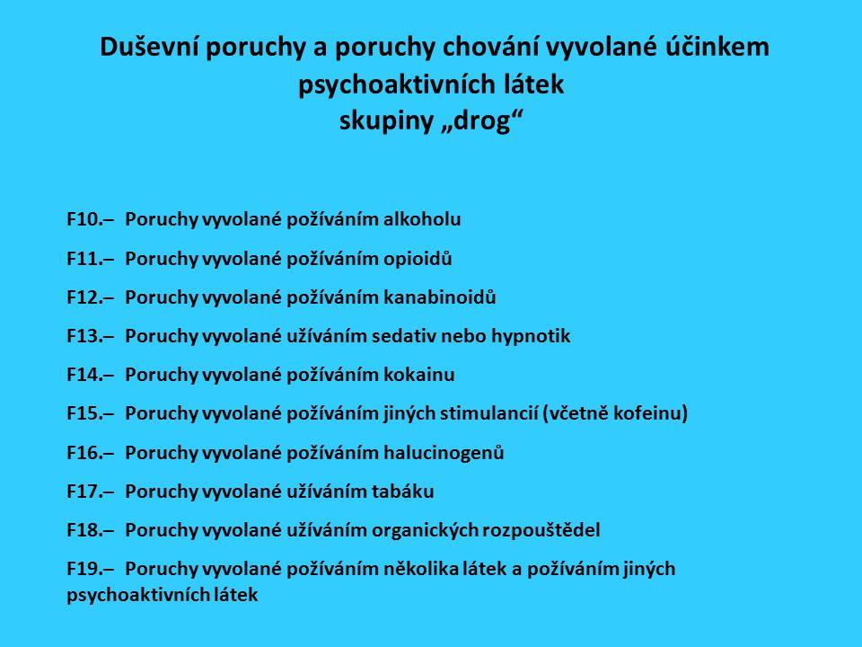 """Duševní poruchy a poruchy chování vyvolané účinkem psychoaktivních látek skupiny """"drog F10.– Poruchy vyvolané požíváním alkoholu F11.– Poruchy vyvolané požíváním opioidů F12.– Poruchy vyvolané požíváním kanabinoidů F13.– Poruchy vyvolané užíváním sedativ nebo hypnotik F14.– Poruchy vyvolané požíváním kokainu F15.– Poruchy vyvolané požíváním jiných stimulancií (včetně kofeinu) F16.– Poruchy vyvolané požíváním halucinogenů F17.– Poruchy vyvolané užíváním tabáku F18.– Poruchy vyvolané užíváním organických rozpouštědel F19.– Poruchy vyvolané požíváním několika látek a požíváním jiných psychoaktivních látek"""