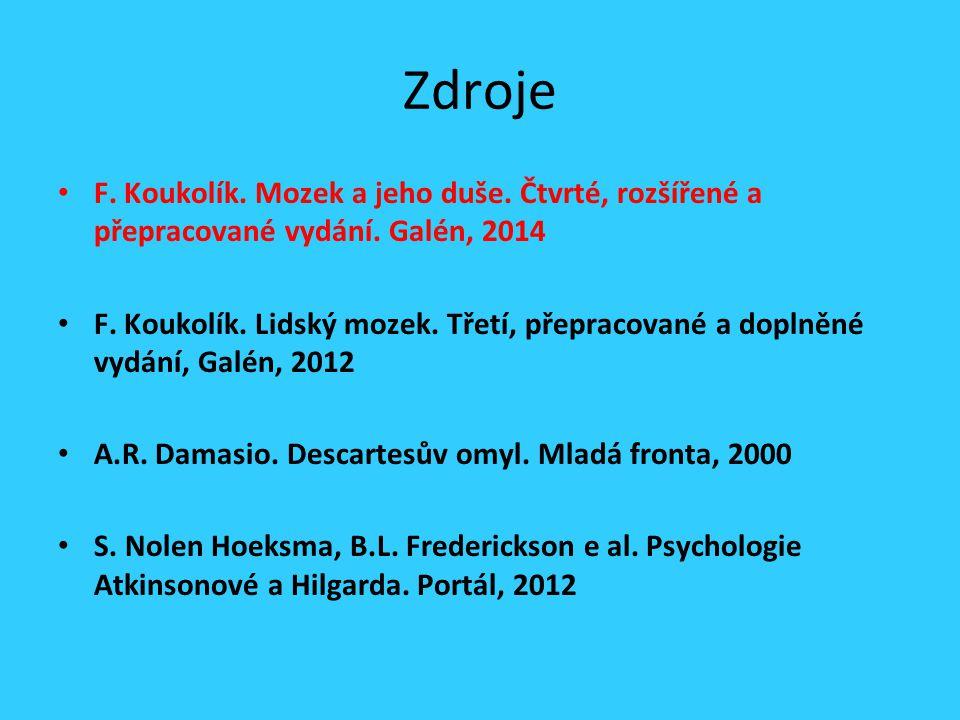 Zdroje F. Koukolík. Mozek a jeho duše. Čtvrté, rozšířené a přepracované vydání.