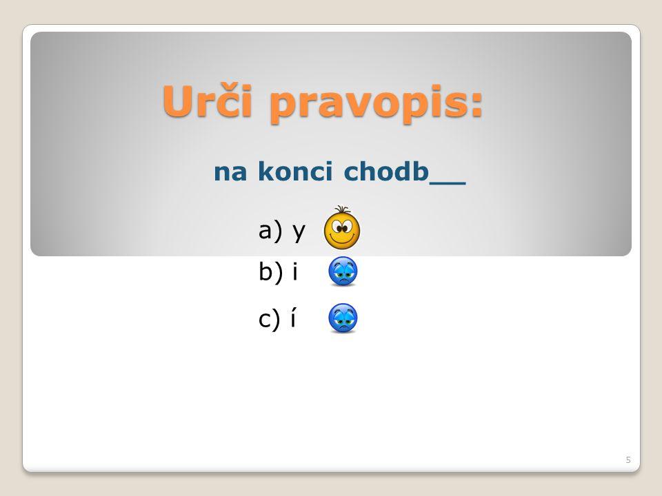 Urči pravopis: b) i a) y c) í 5 na konci chodb__