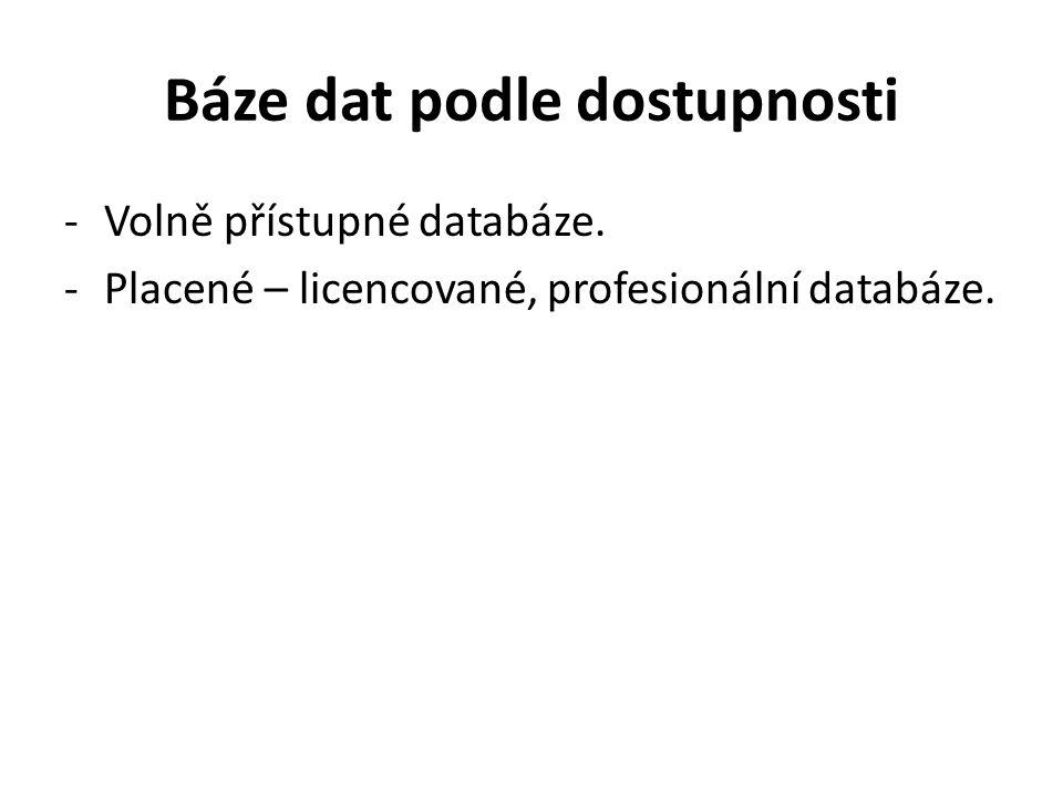 Báze dat podle dostupnosti -Volně přístupné databáze. -Placené – licencované, profesionální databáze.
