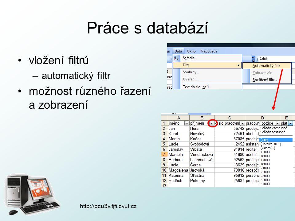 http://pcu3v.fjfi.cvut.cz Práce s databází vložení filtrů –automatický filtr možnost různého řazení a zobrazení