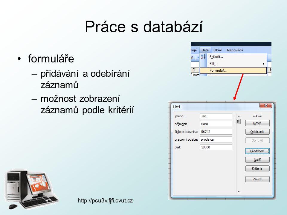http://pcu3v.fjfi.cvut.cz Práce s databází formuláře –přidávání a odebírání záznamů –možnost zobrazení záznamů podle kritérií