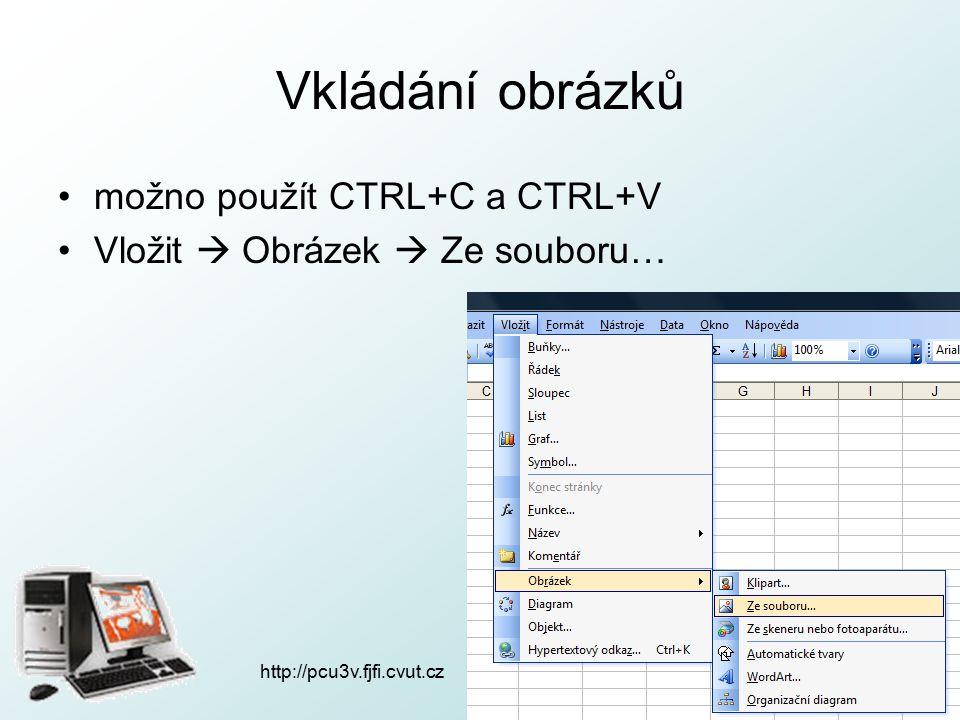 http://pcu3v.fjfi.cvut.cz Vkládání obrázků možno použít CTRL+C a CTRL+V Vložit  Obrázek  Ze souboru…