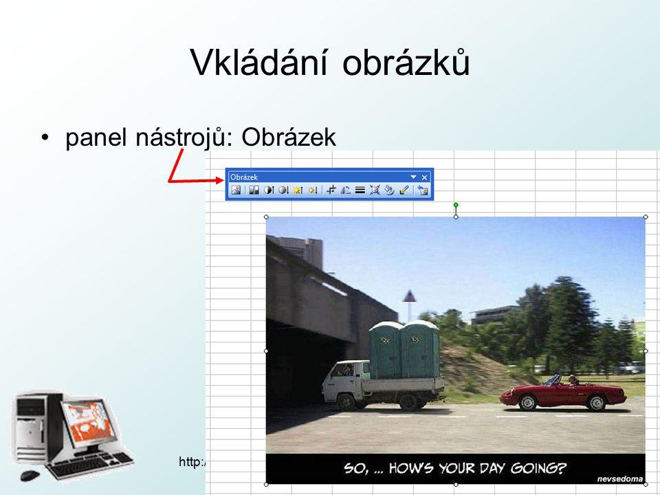 http://pcu3v.fjfi.cvut.cz Vkládání obrázků panel nástrojů: Obrázek