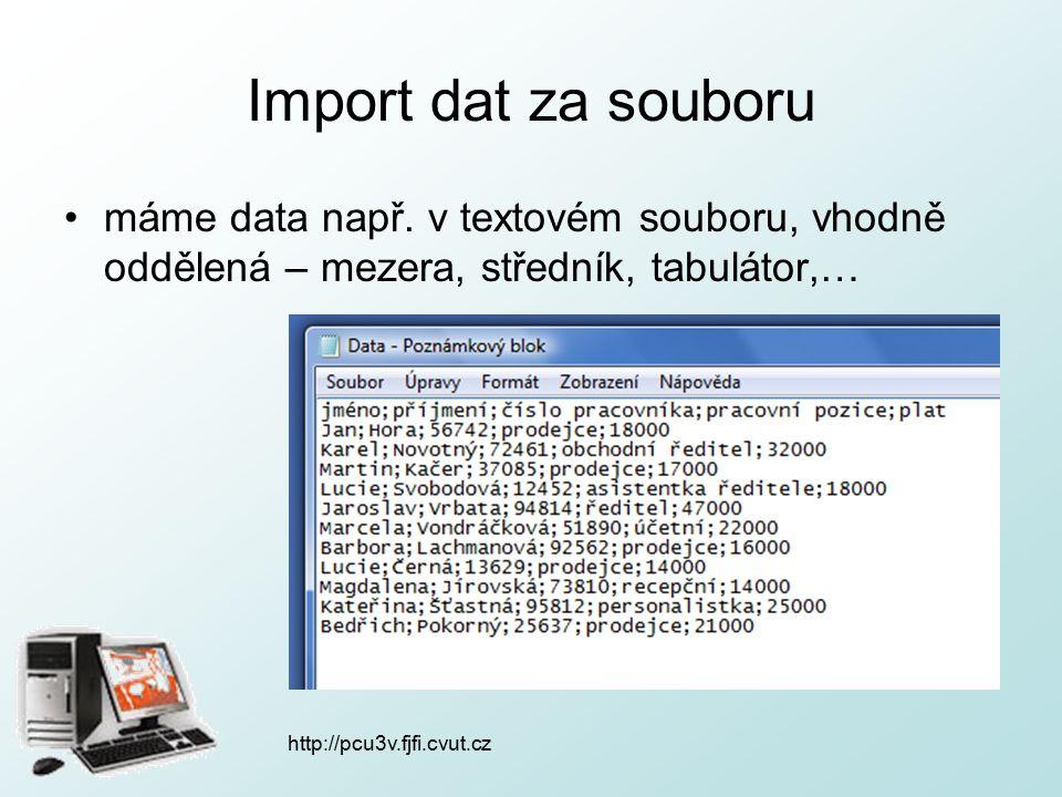 http://pcu3v.fjfi.cvut.cz Import dat za souboru hlavní nabídka: Data  Importovat externí data  Importovat data… vybereme zdroj dat