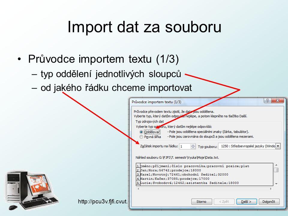 http://pcu3v.fjfi.cvut.cz Spolupráce Wordu a Excelu nabídka - hromadná korespondence: –typ dokumentu: dopis –použít aktuální dokument –Procházet  vybereme cestu k naší databázi