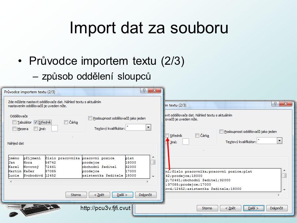 http://pcu3v.fjfi.cvut.cz Import dat za souboru Průvodce importem textu (2/3) –způsob oddělení sloupců