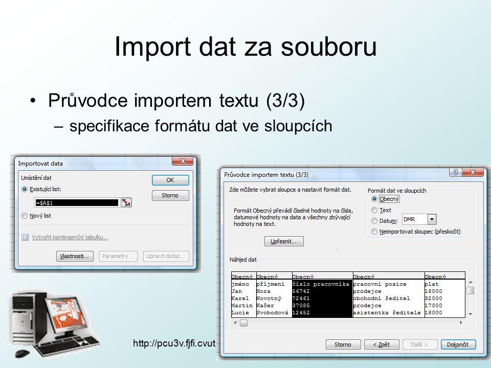 http://pcu3v.fjfi.cvut.cz Import dat za souboru Průvodce importem textu (3/3) –specifikace formátu dat ve sloupcích