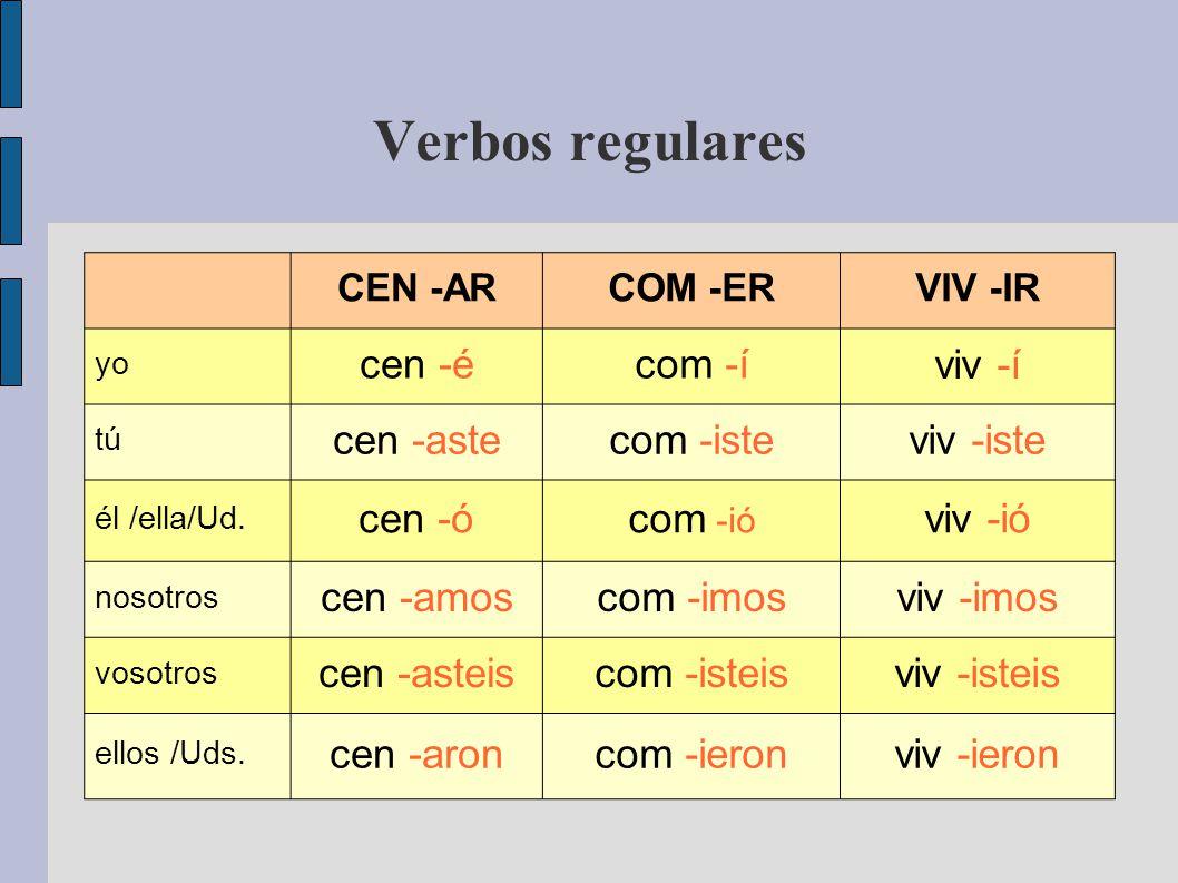 Verbos regulares CEN -ARCOM -ERVIV -IR yo cen -écom -í viv -í tú cen -astecom -isteviv -iste él /ella/Ud.