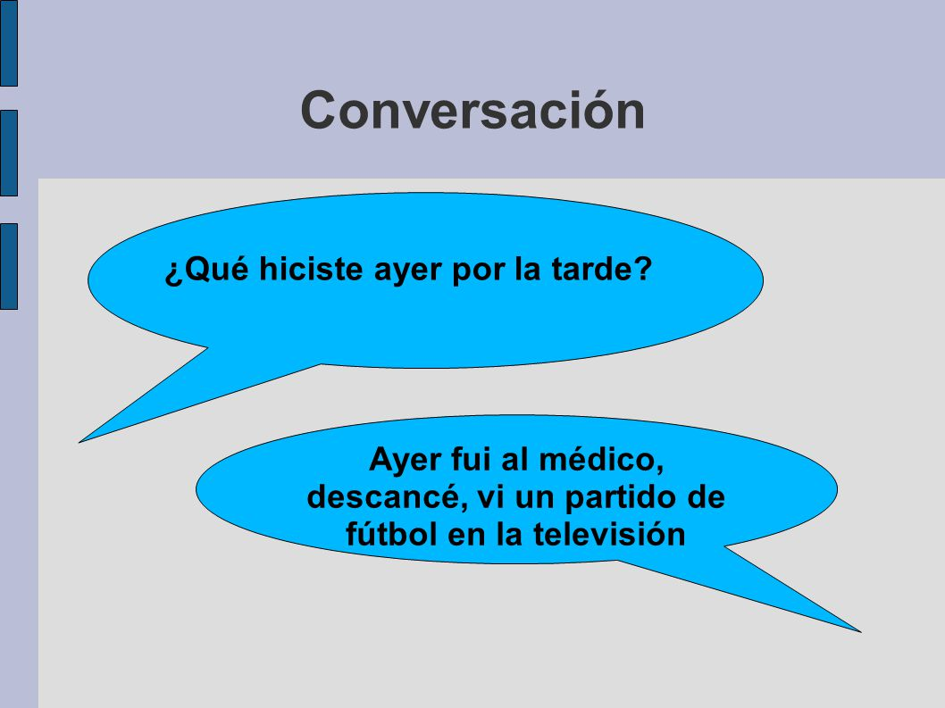 Conversación Ayer fui al médico, descancé, vi un partido de fútbol en la televisión ¿Qué hiciste ayer por la tarde?