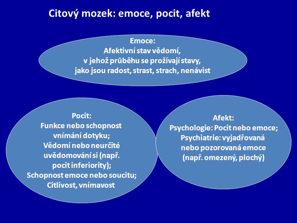 Emoce: Afektivní stav vědomí, v jehož průběhu se prožívají stavy, jako jsou radost, strast, strach, nenávist Pocit: Funkce nebo schopnost vnímání dotyku; Vědomí nebo neurčité uvědomování si (např.