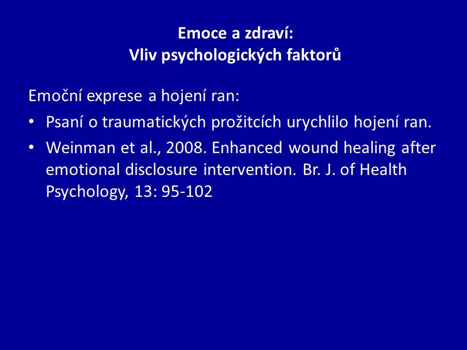 Emoce a zdraví: Vliv psychologických faktorů Emoční exprese a hojení ran: Psaní o traumatických prožitcích urychlilo hojení ran.