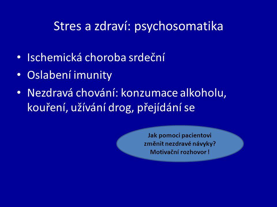 Stres a zdraví: psychosomatika Ischemická choroba srdeční Oslabení imunity Nezdravá chování: konzumace alkoholu, kouření, užívání drog, přejídání se Jak pomoci pacientovi změnit nezdravé návyky.