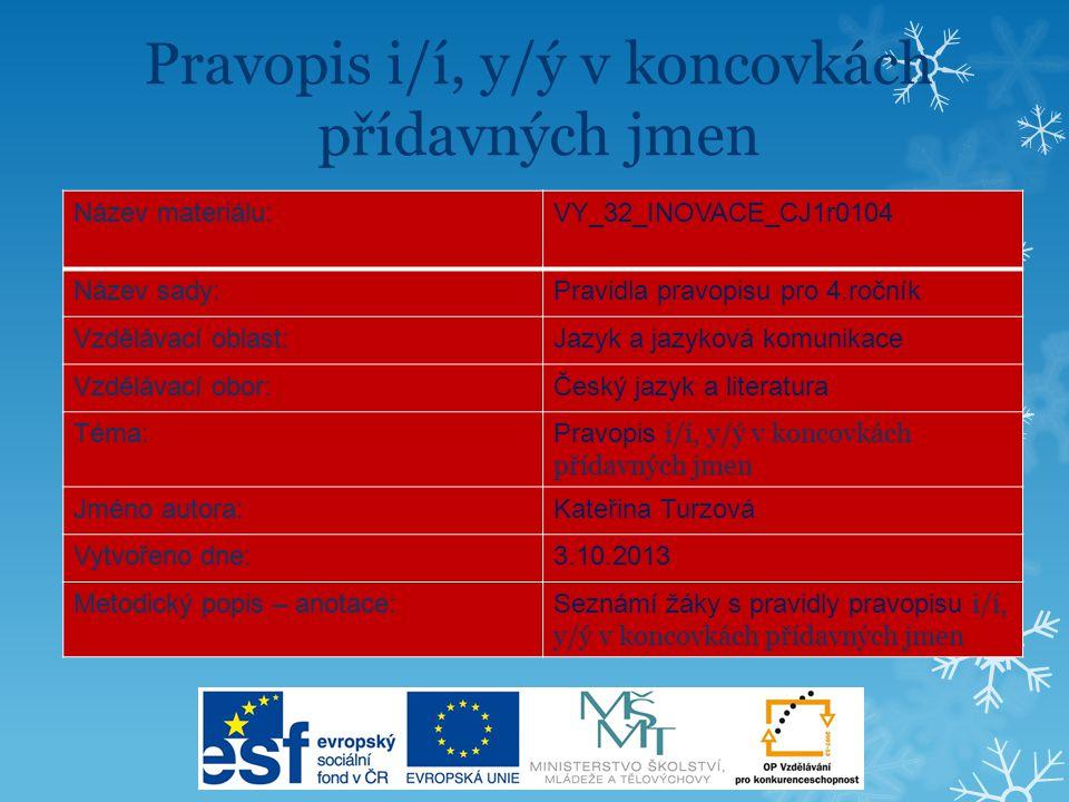 Pravidla českého pravopisu Pravopis i/í, y/ý v koncovkách přídavných jmen