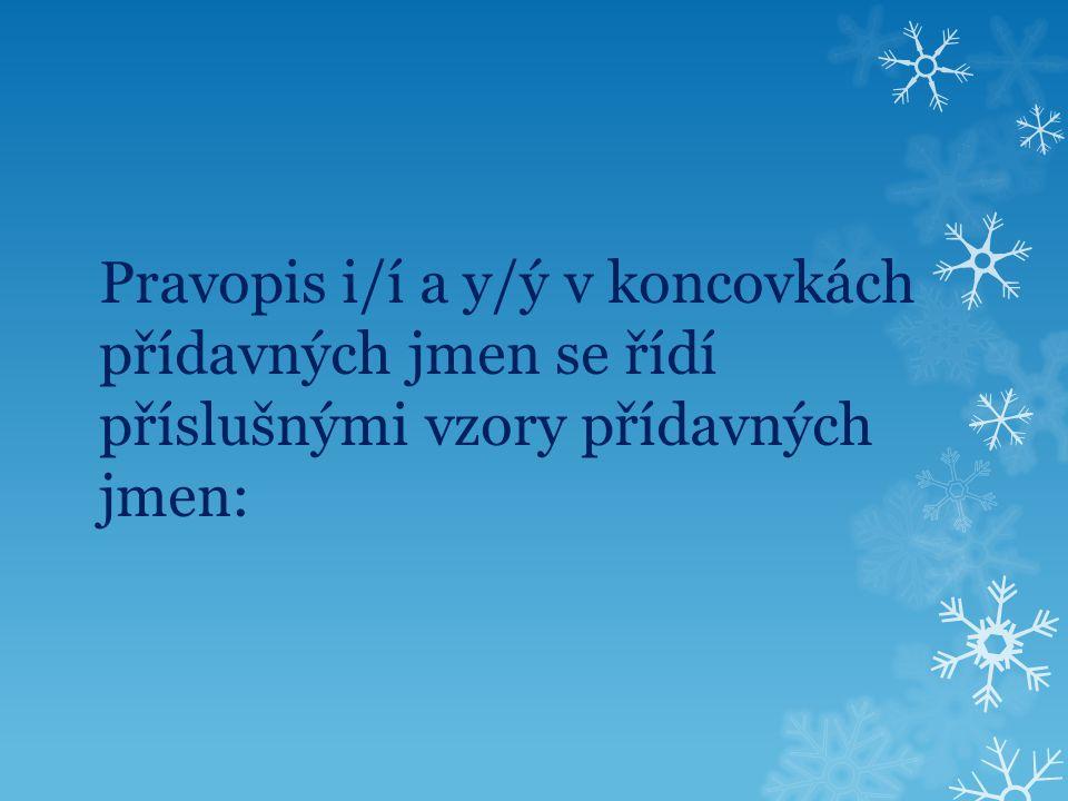 Pravopis i/í a y/ý v koncovkách přídavných jmen se řídí příslušnými vzory přídavných jmen: