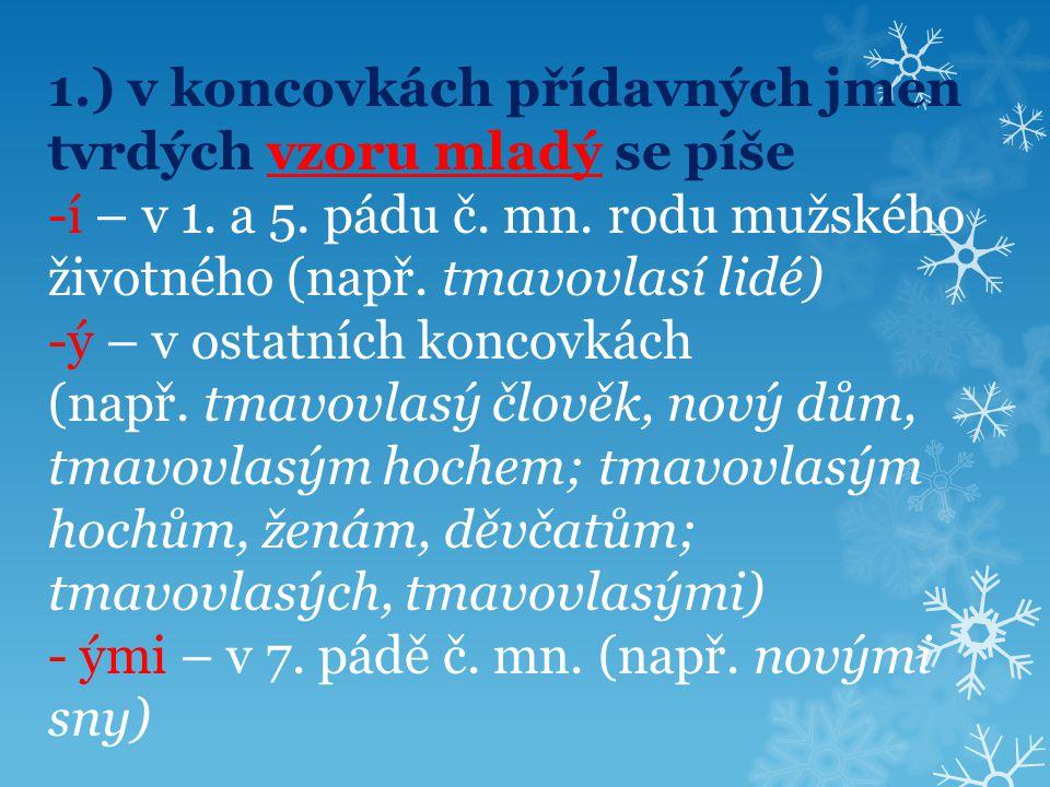 2.) ve jmenném tvaru se píše -i – pouze v 1.pádu č.