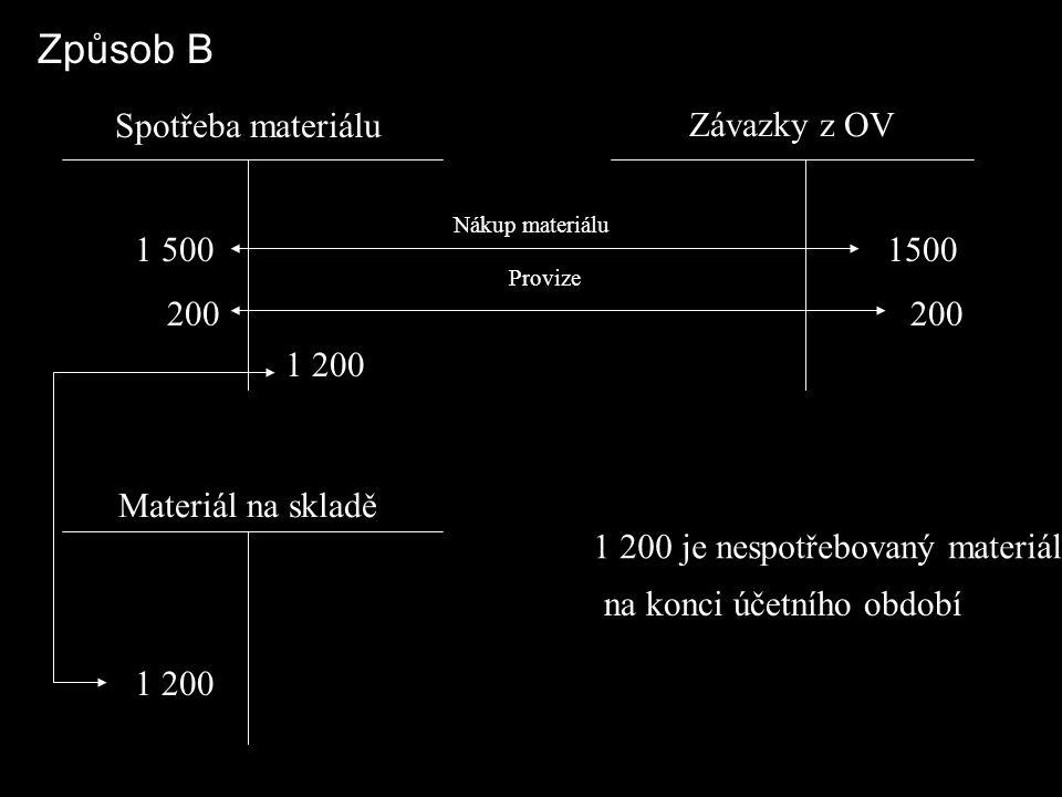 Způsob B Spotřeba materiálu Závazky z OV Materiál na skladě 1 500 200 1500 200 1 200 Nákup materiálu Provize 1 200 1 200 je nespotřebovaný materiál na konci účetního období