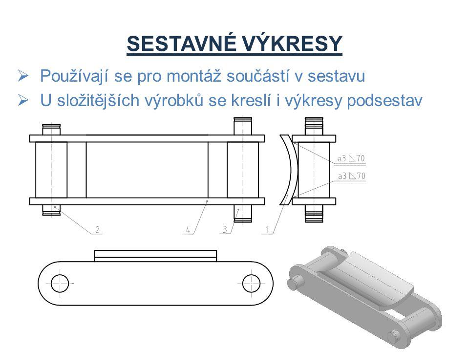 Používají se pro montáž součástí v sestavu  U složitějších výrobků se kreslí i výkresy podsestav